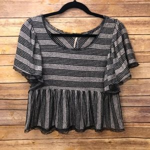Free People Grey Stripped Crop Top - Small